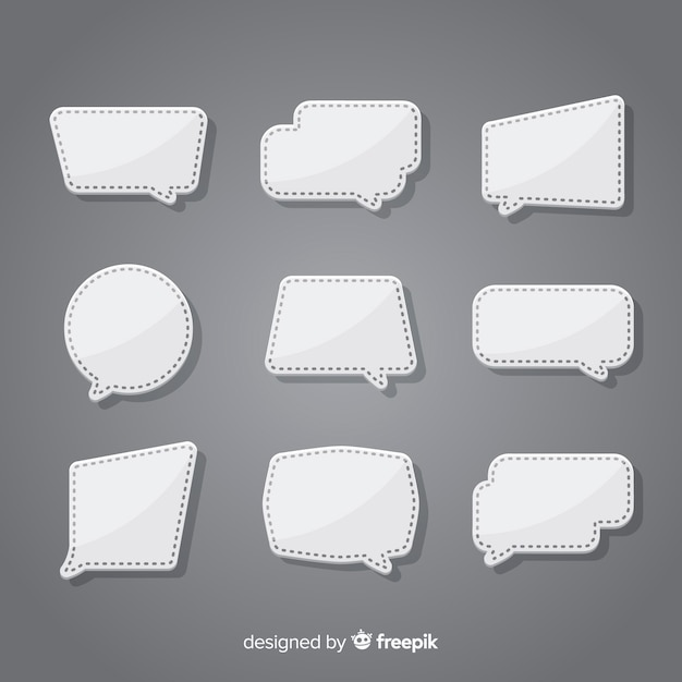 Collection de bulles de dialogue design plat dans le style de papier Vecteur gratuit