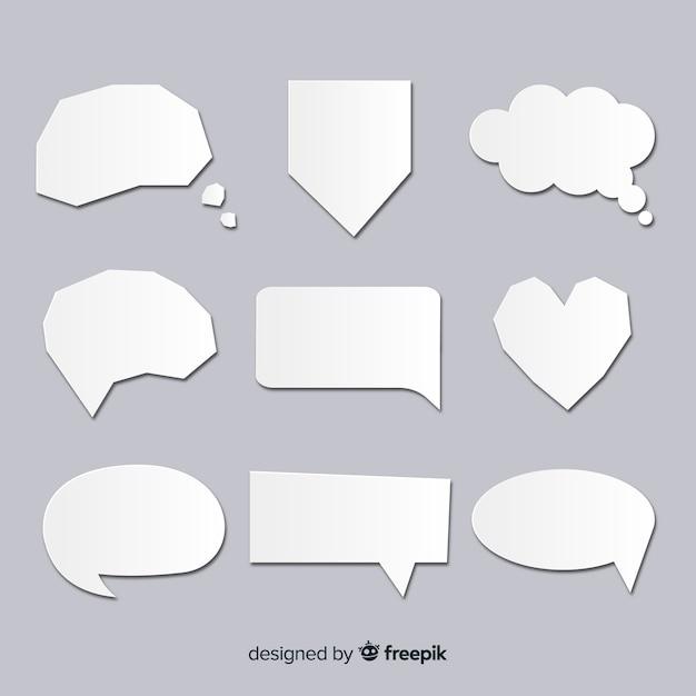 Collection de bulles de discours dans un style de papier clair Vecteur gratuit