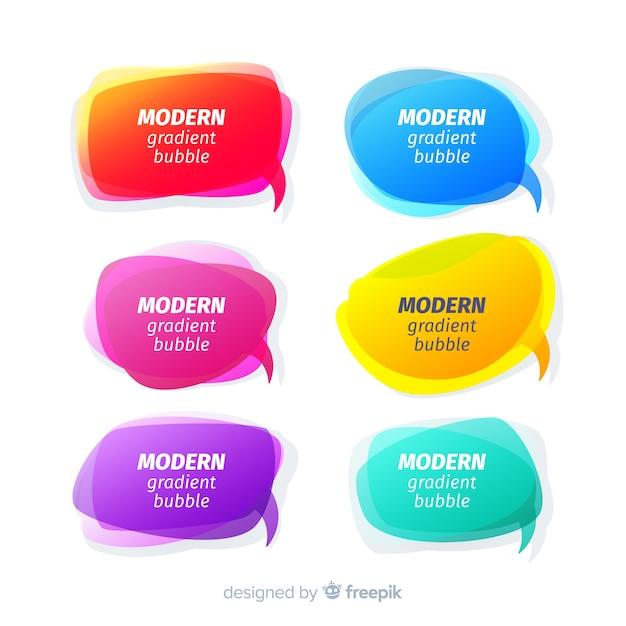 Collection de bulles de discours dégradé coloré Vecteur gratuit