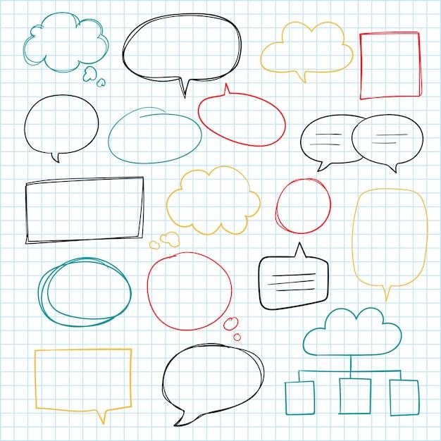 Collection de bulles de discours dessinés à la main Vecteur gratuit