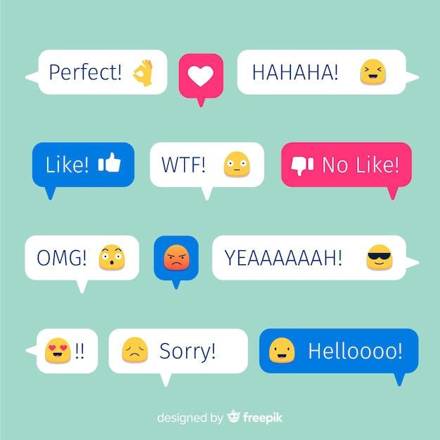 Collection de bulles de messages colorés design plat Vecteur gratuit