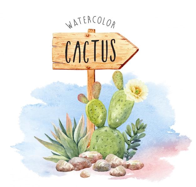 Collection De Cactus Aquarelle Avec Signe De Bois. Vecteur Premium