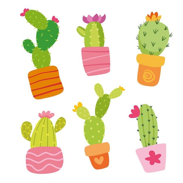 Collection de cactus coloré Vecteur gratuit