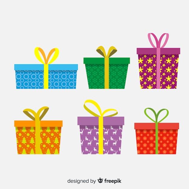 Collection de cadeaux de noël au design plat Vecteur gratuit