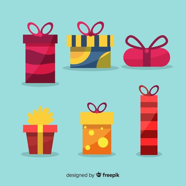 Collection de cadeaux de noël plats Vecteur gratuit