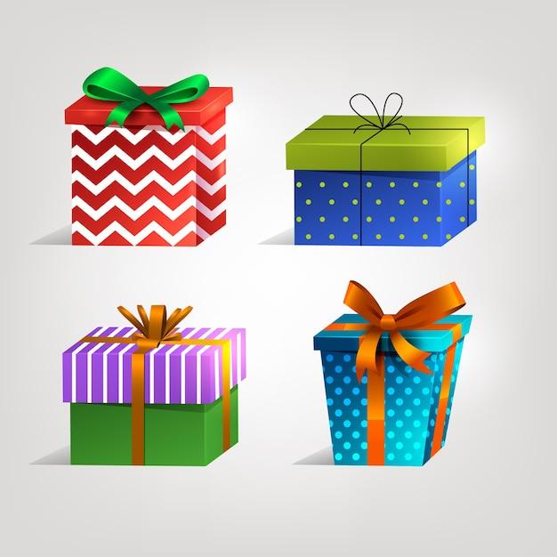 Collection de cadeaux de noël réaliste Vecteur gratuit