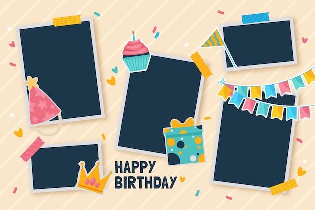 Collection De Cadre De Collage D'anniversaire Plat Vecteur gratuit