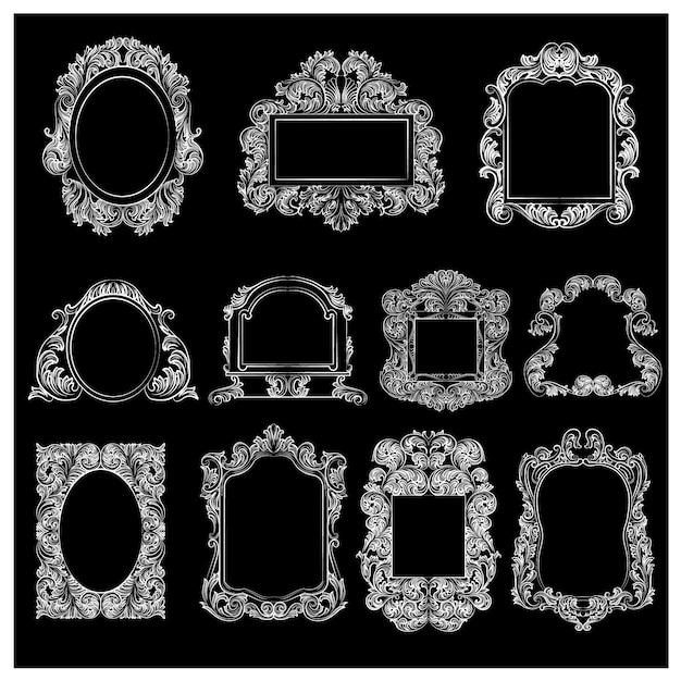 Collection de cadre ornemental Vecteur gratuit