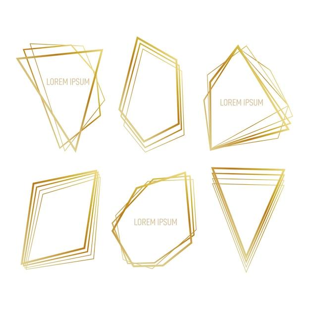 Collection de cadre polygonal doré Vecteur gratuit
