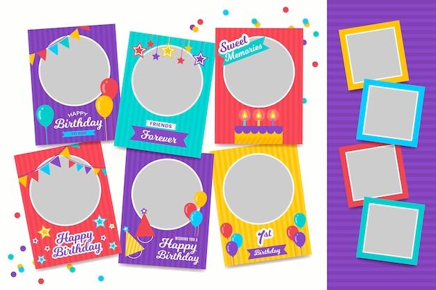 Collection De Cadres De Collage D'anniversaire Design Plat Vecteur Premium