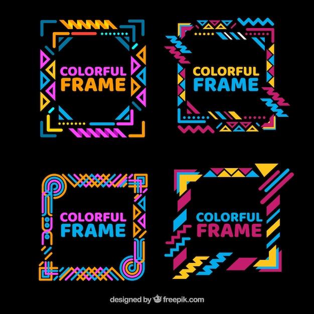 Collection De Cadres Colorés Avec Des Formes Géométriques Vecteur gratuit
