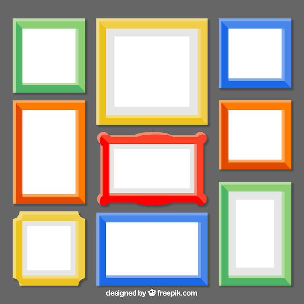 Collection De Cadres Colorés Vecteur gratuit
