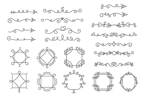 Collection De Cadres Et D'éléments Décoratifs Vecteur gratuit