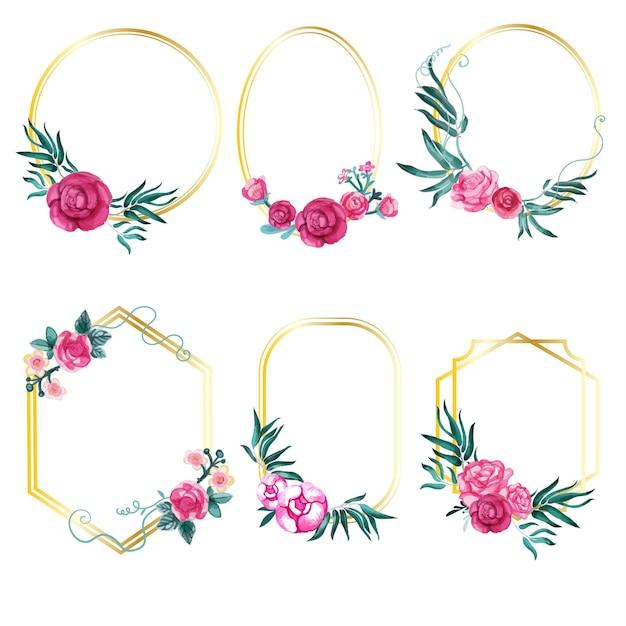 Collection De Cadres Floraux Aquarelle Vecteur gratuit