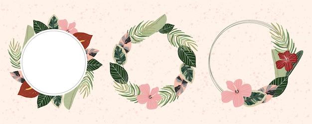 Collection De Cadres Floraux Pour L'été Tropical Vecteur Premium