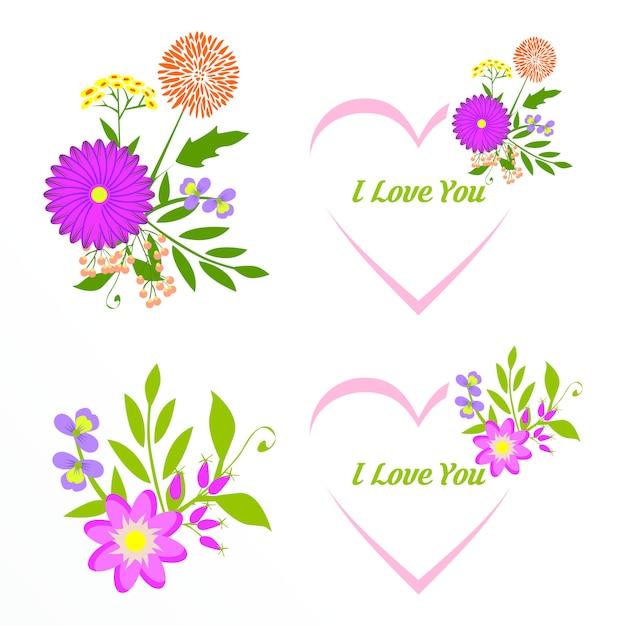 Collection De Cadres Floraux Romantiques. Fleurs Roses Disposées En Forme De Couronne Vecteur Premium