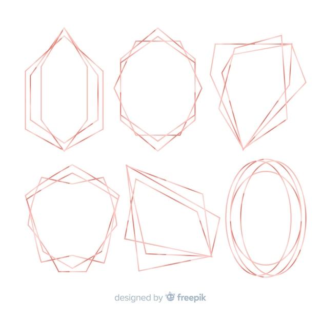 Collection de cadres géométrique rose doré Vecteur gratuit