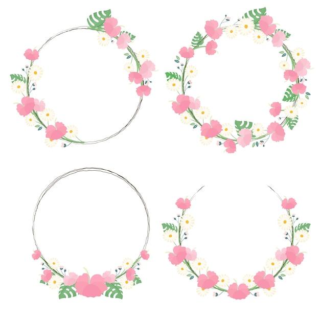 Collection de cadres de guirlande de fleurs de fleurs d'hibiscus pour l'été Vecteur Premium