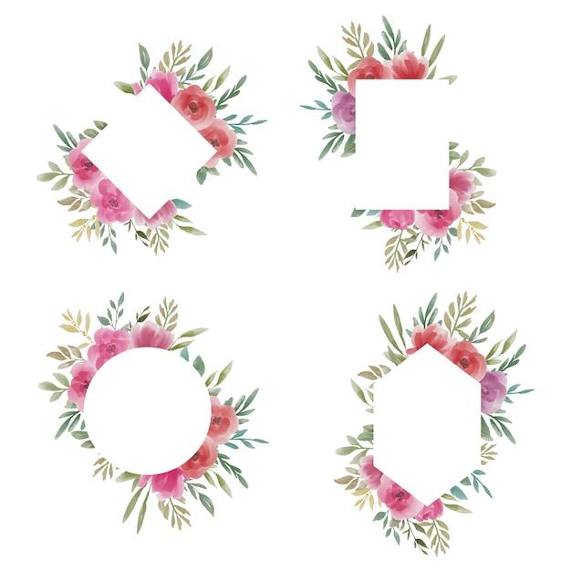 Collection De Cadres De Mariage Floral Aquarelle Vecteur Premium