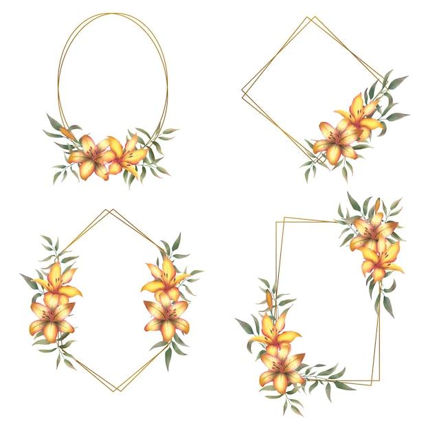 Collection De Cadres En Or Avec Un Bouquet De Lys Aquarelle Vecteur Premium
