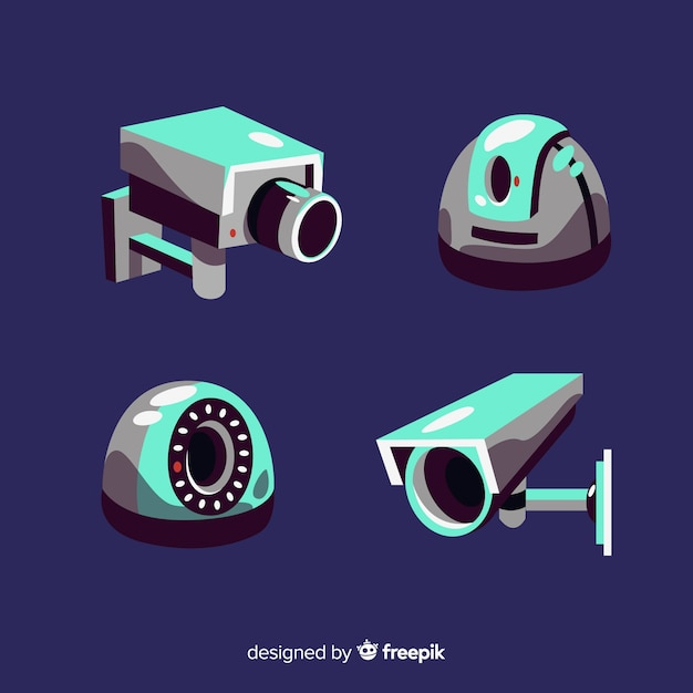 Collection de caméras de vidéosurveillance avec un design plat Vecteur gratuit