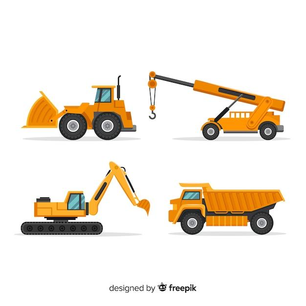 Collection de camions de construction plate Vecteur gratuit