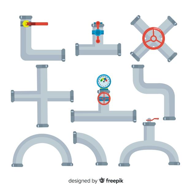 Collection de canalisations métalliques en design plat Vecteur gratuit