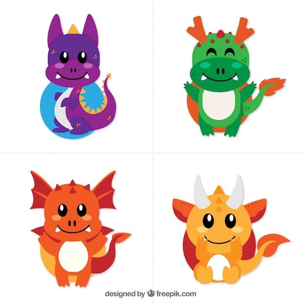 Collection De Caractères Bébé Dragon Avec Un Design Plat Vecteur Premium