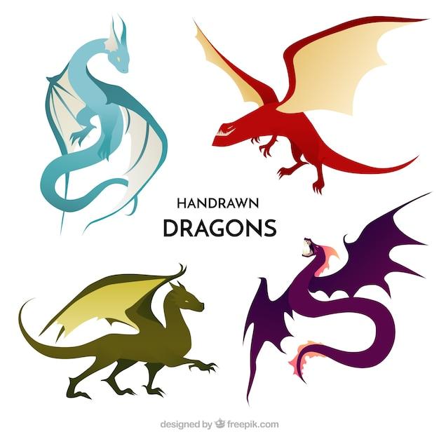 Collection de caractères dragon dessinés à la main Vecteur gratuit