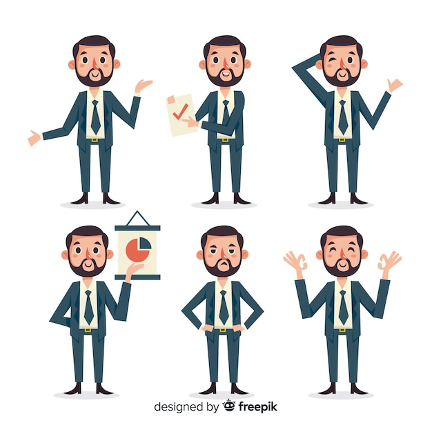 Collection de caractères du vendeur dans différentes positions Vecteur gratuit