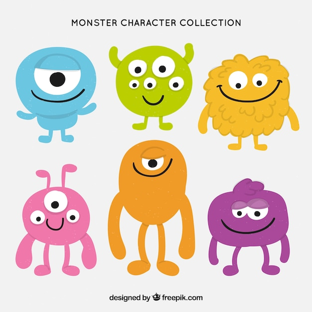 Collection de caractères monster Vecteur gratuit