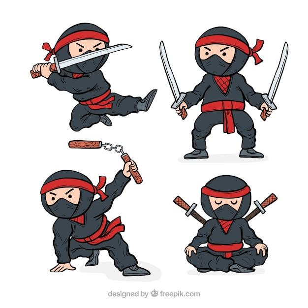 Collection de caractères ninja dessinés à la main Vecteur gratuit