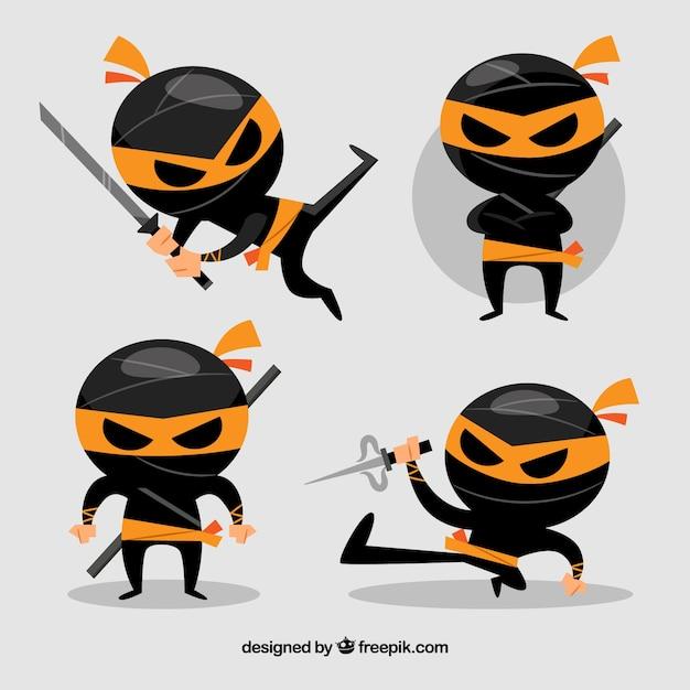 Collection de caractères ninja noir Vecteur gratuit
