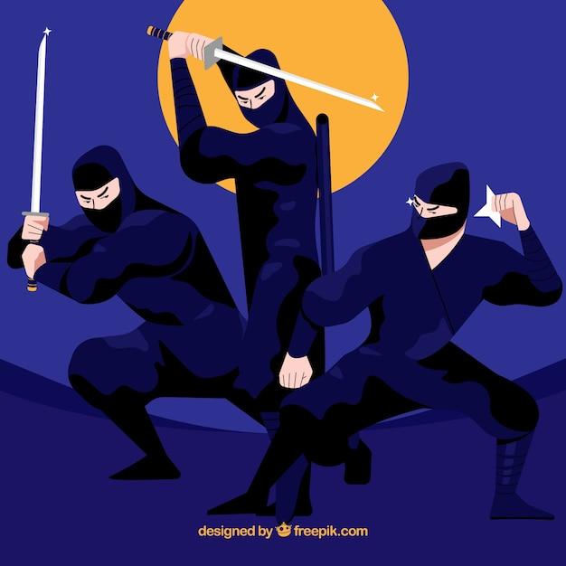 Collection De Caractères Ninja D'origine Avec Un Design Plat Vecteur gratuit