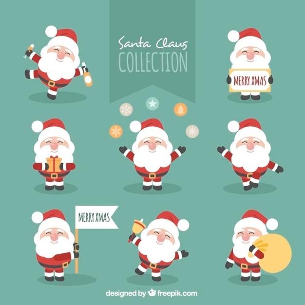 Collection De Caractères De Père Noël Heureux Vecteur gratuit