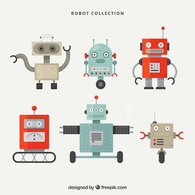 Collection De Caractères Robot Design Plat Vecteur Premium