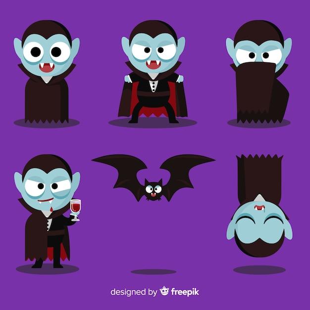 Collection de caractères vampire coloré avec un design plat Vecteur gratuit