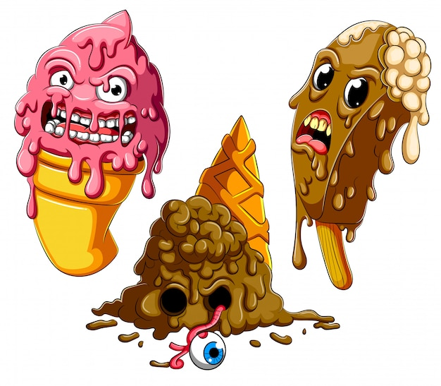 Collection De Caricature De Crème Glacée Zombie Fondante Vecteur Premium