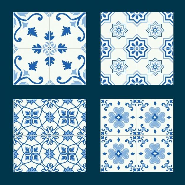 Collection de carreaux bleus Vecteur gratuit