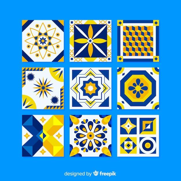 Collection de carreaux colorés au design plat Vecteur gratuit