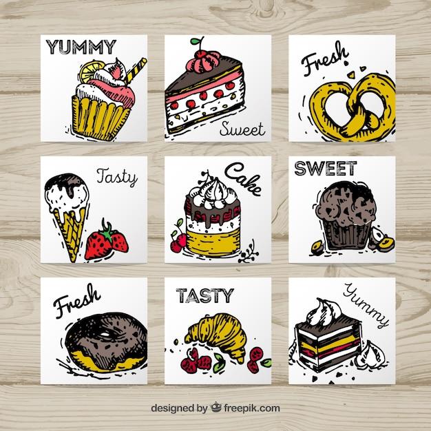 Collection de carte de nourriture savoureuse dessinés à la main Vecteur gratuit