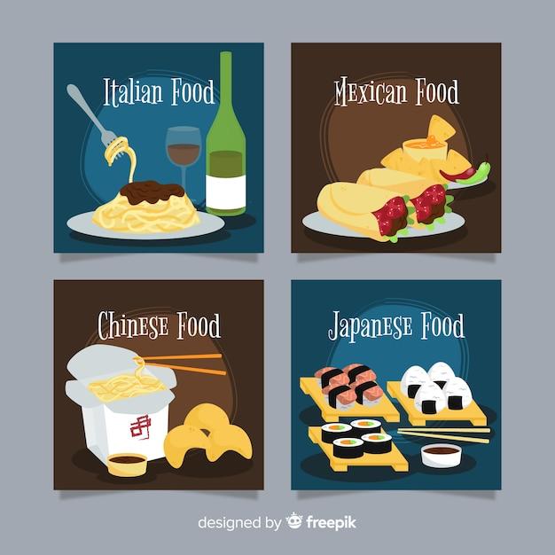 Collection de cartes alimentaires régionales Vecteur gratuit