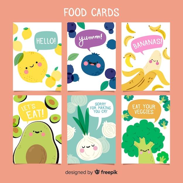 Collection de cartes alimentaires Vecteur gratuit