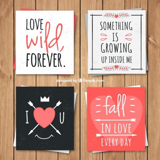 Collection De Cartes D'amour Belle Avec Des Phrases Romantiques Vecteur gratuit