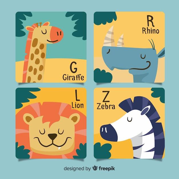 Collection de cartes d'animaux dessinés à la main Vecteur gratuit