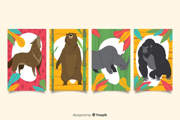 Collection De Cartes D'animaux Sauvages Dessinées à La Main Vecteur Premium