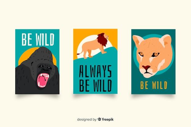 Collection de cartes d'animaux sauvages dessinées à la main Vecteur gratuit
