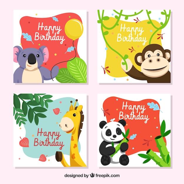 Collection De Cartes D'anniversaire Avec Des Animaux Souriants Vecteur gratuit