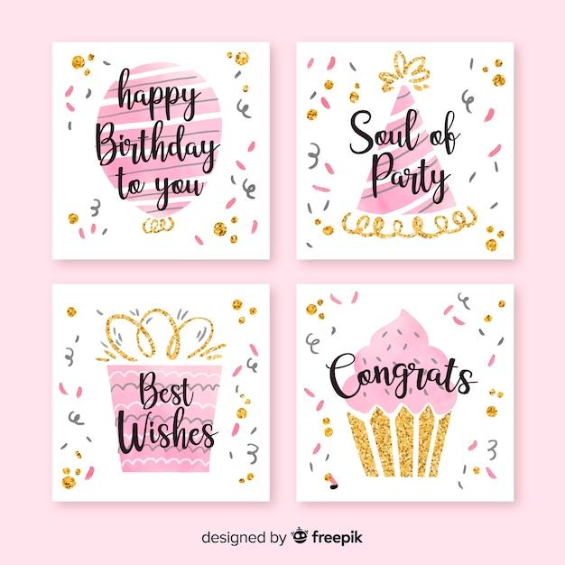 Collection de cartes d'anniversaire aquarelle Vecteur gratuit