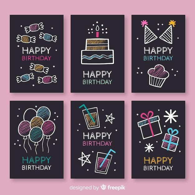 Collection de cartes d'anniversaire blackboard Vecteur gratuit